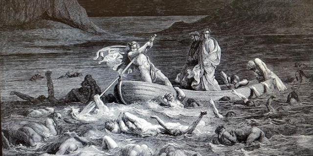 dante en la barca de caronte