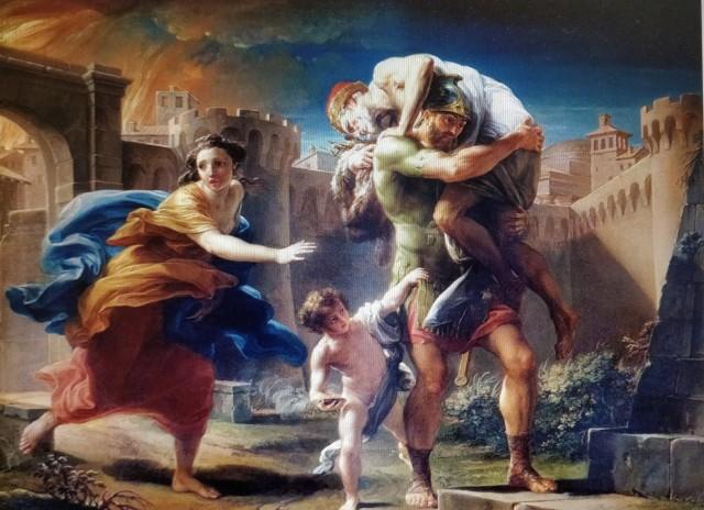 Eneas con Anquises y Ascanio