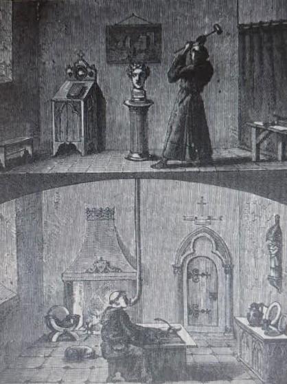 Tomás de Aquino destruye la cabeza parlante de Alberto Magno